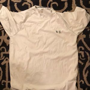 Large white under armour dri fit athletic shirt